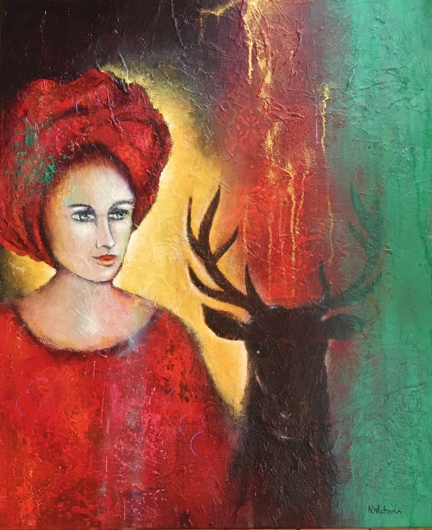 Woman and Deer, 73x60 cm.