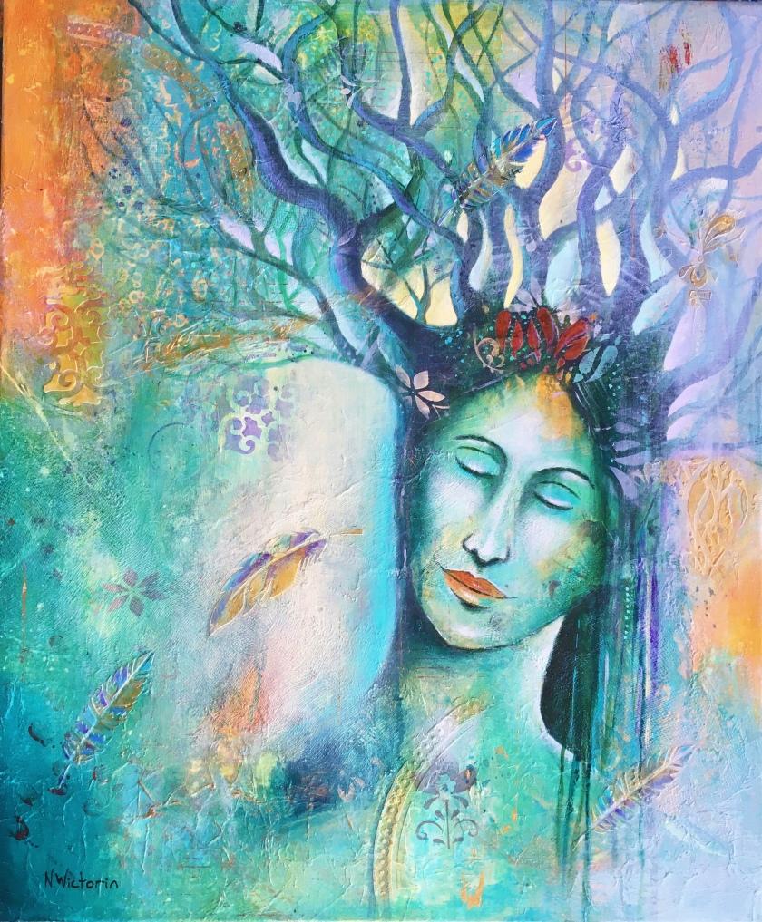 #acrylicpainting #treespirit #naturespirit #spiritualart #colorfulart #akrylmålning #turquoise